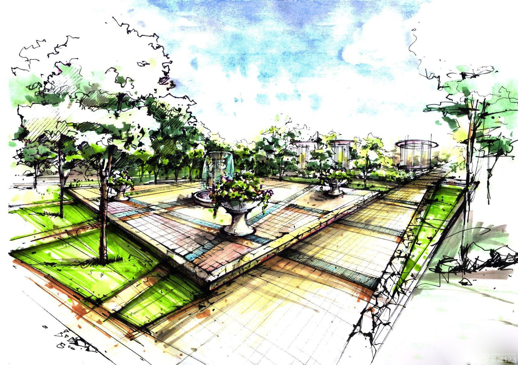 花园洋房马克笔手绘效果图