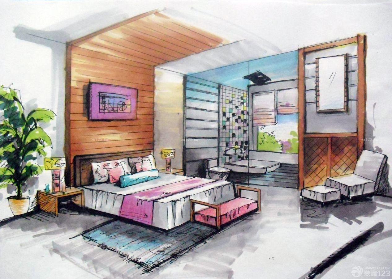 卧室马克笔手绘设计图片