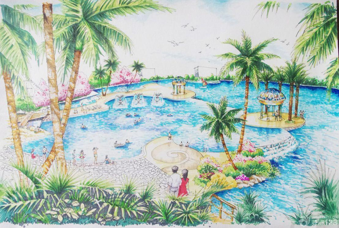 游泳池马克笔手绘设计效果图
