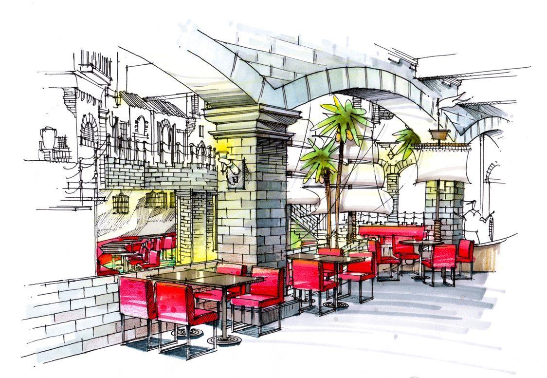 餐厅马克笔手绘设计效果图