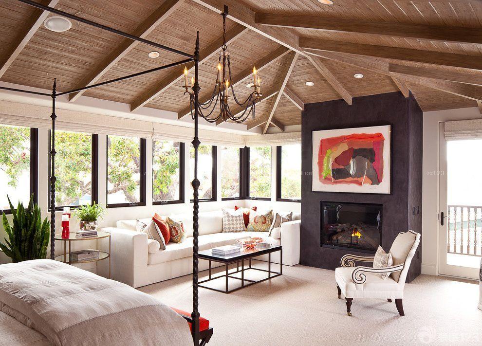 木结构别墅组合沙发设计效果图