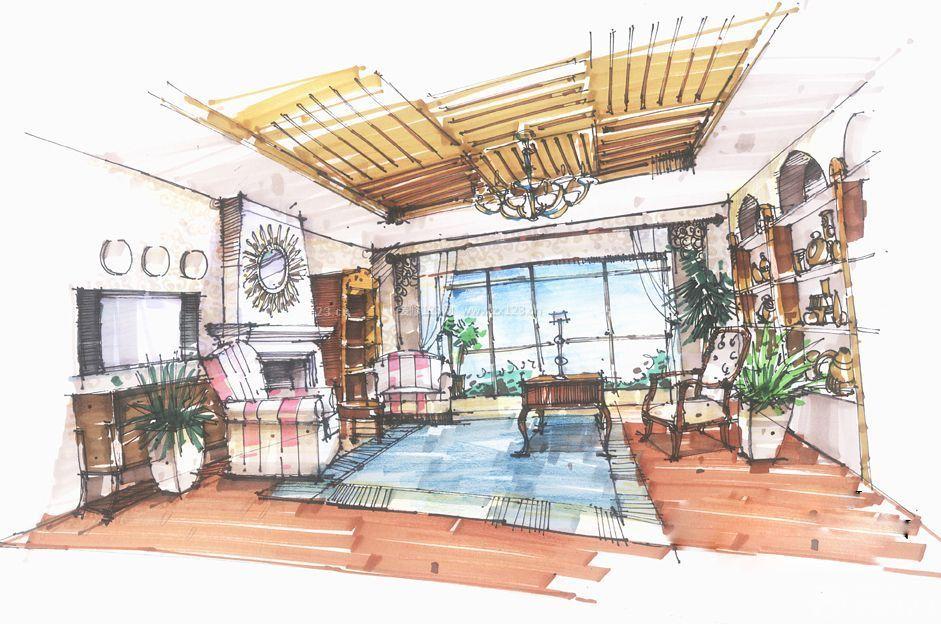 家居客厅马克笔手绘设计图