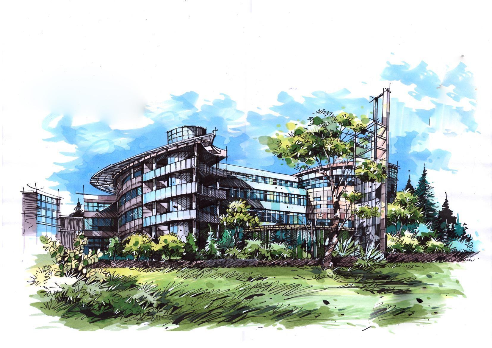 马克笔手绘楼房设计图片