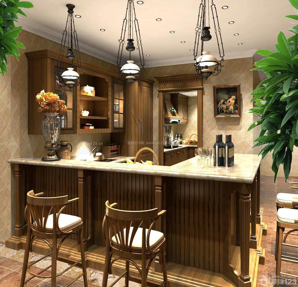 美式风格橱柜带吧台设计图