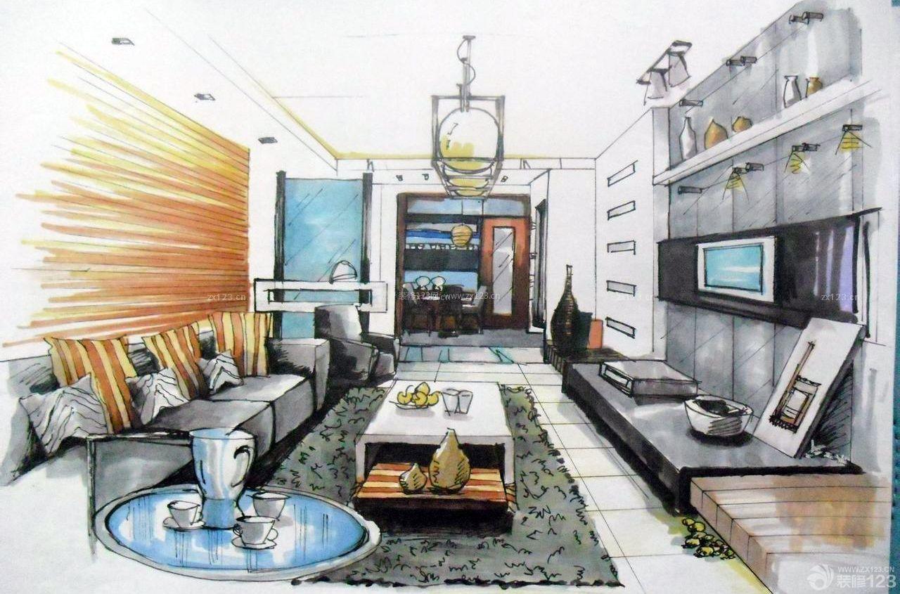 长方形客厅马克笔手绘效果图
