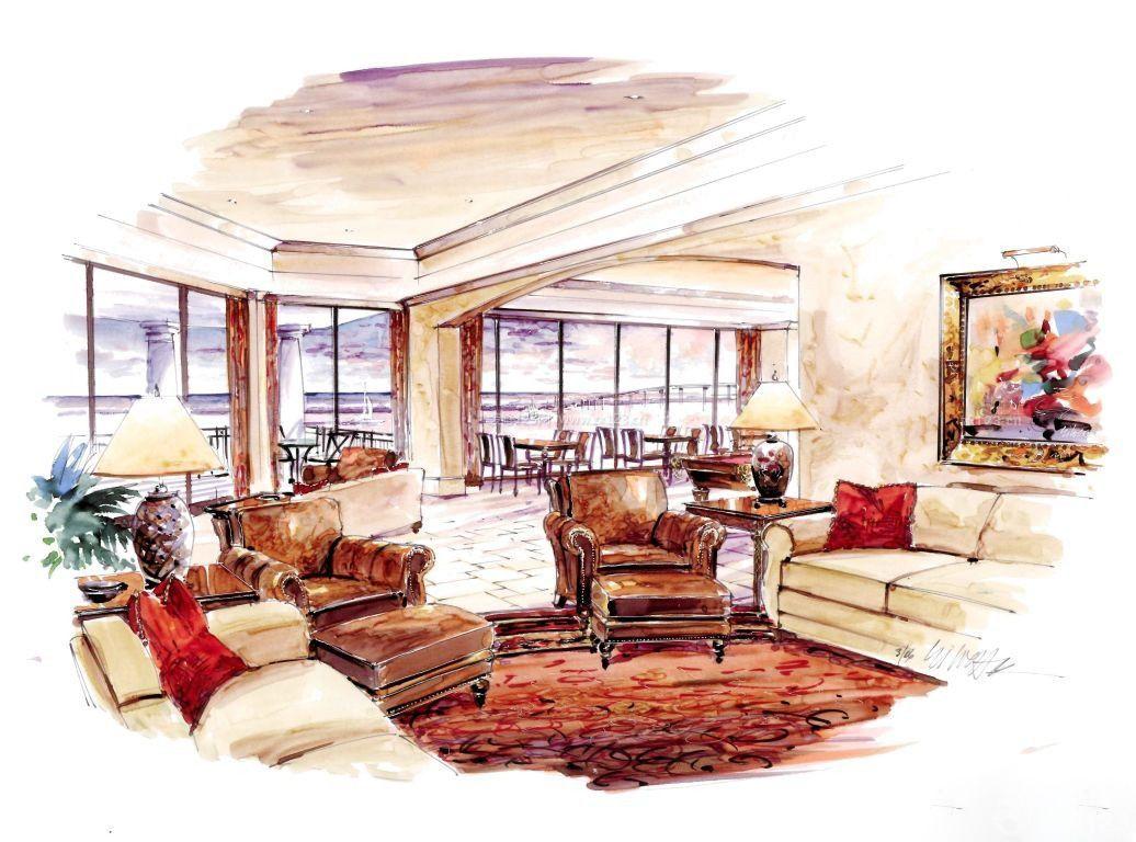 家庭客厅马克笔手绘效果图片大全
