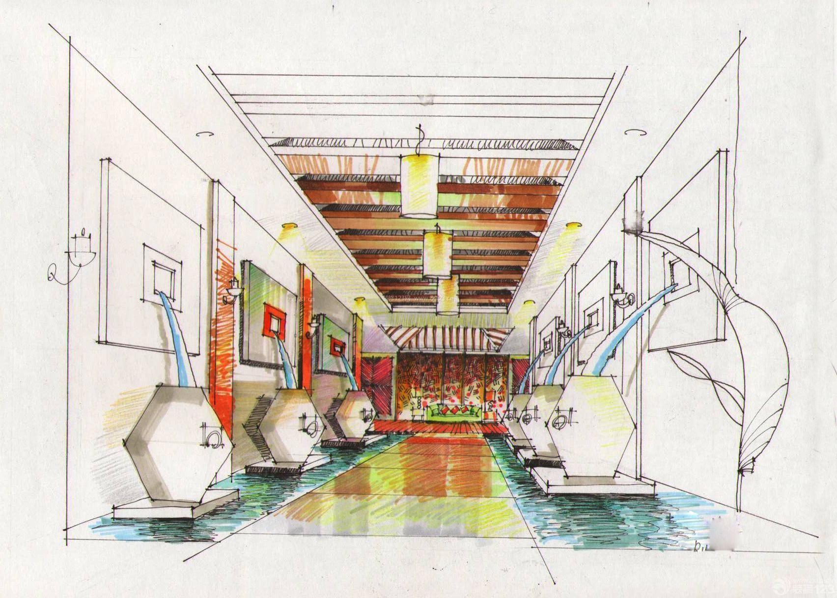 马克笔手绘走廊图片