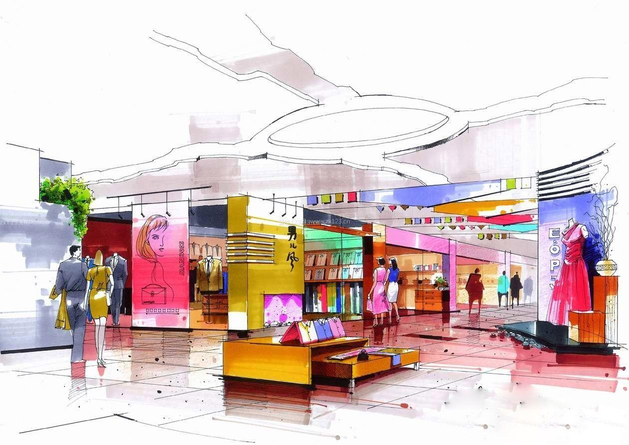 马克笔手绘商场设计图片