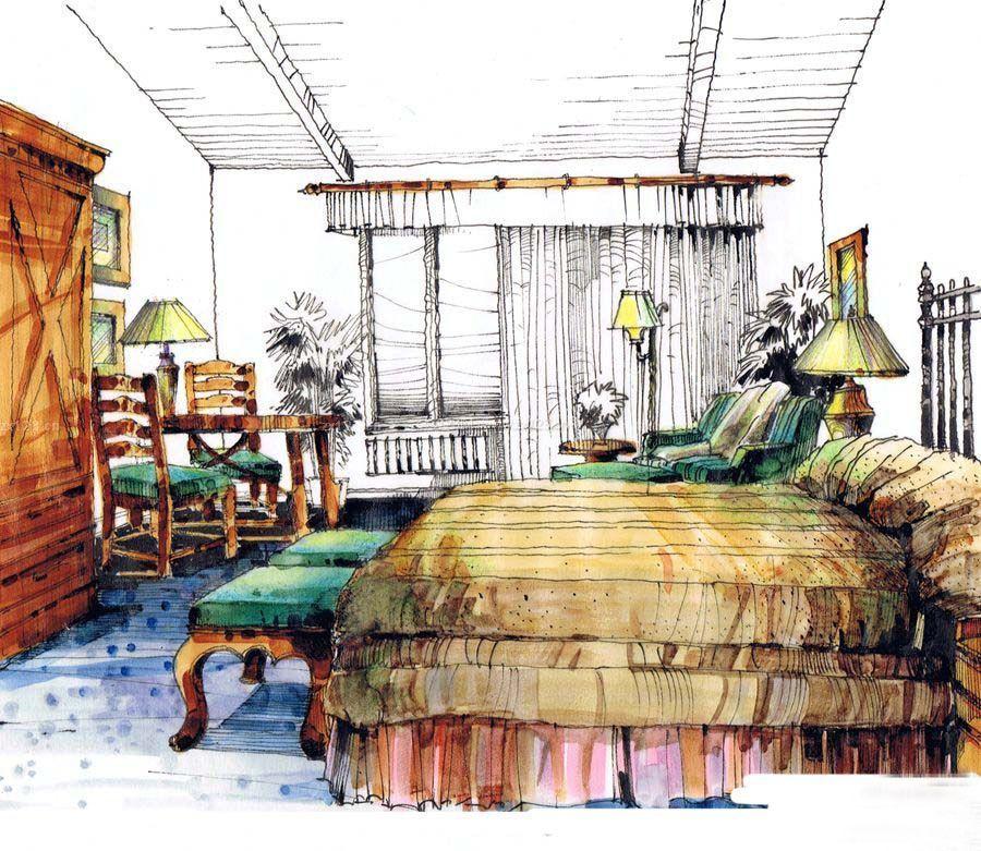 大卧室马克笔手绘设计图片_装修123效果图