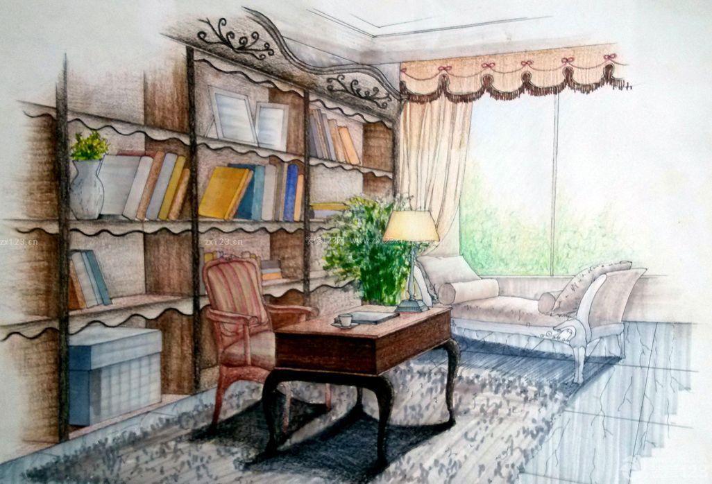 小书房马克笔手绘效果图