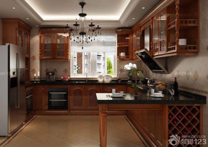 美式风格橱柜带吧台装修案例图
