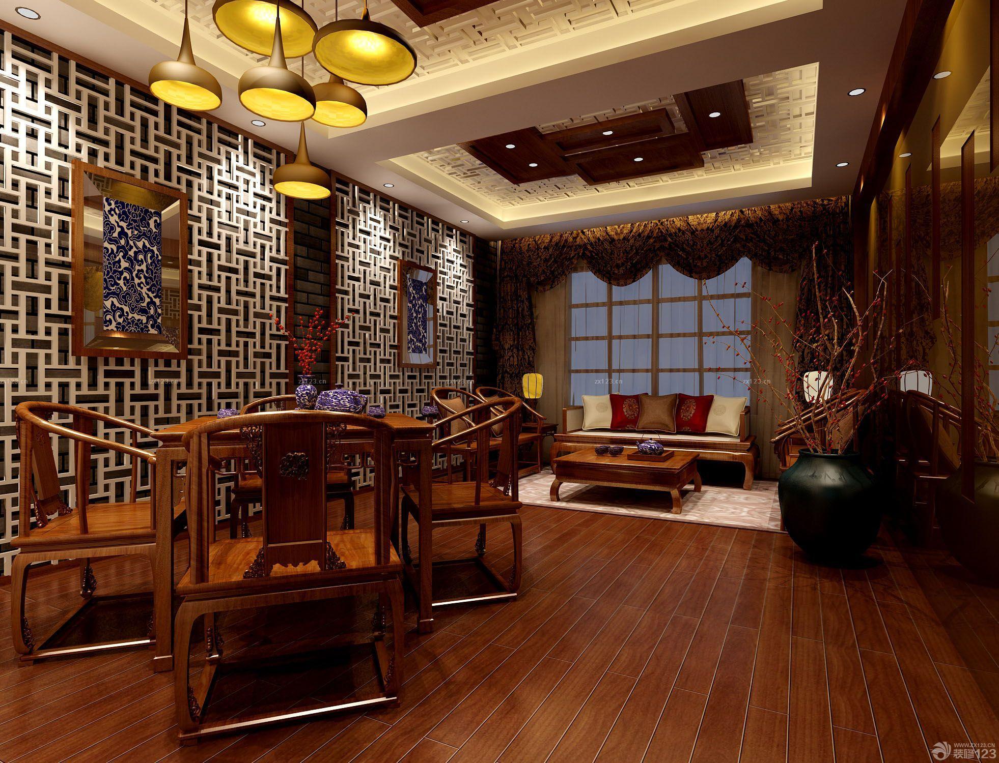 新中式风格茶馆设计图片_装修123效果图