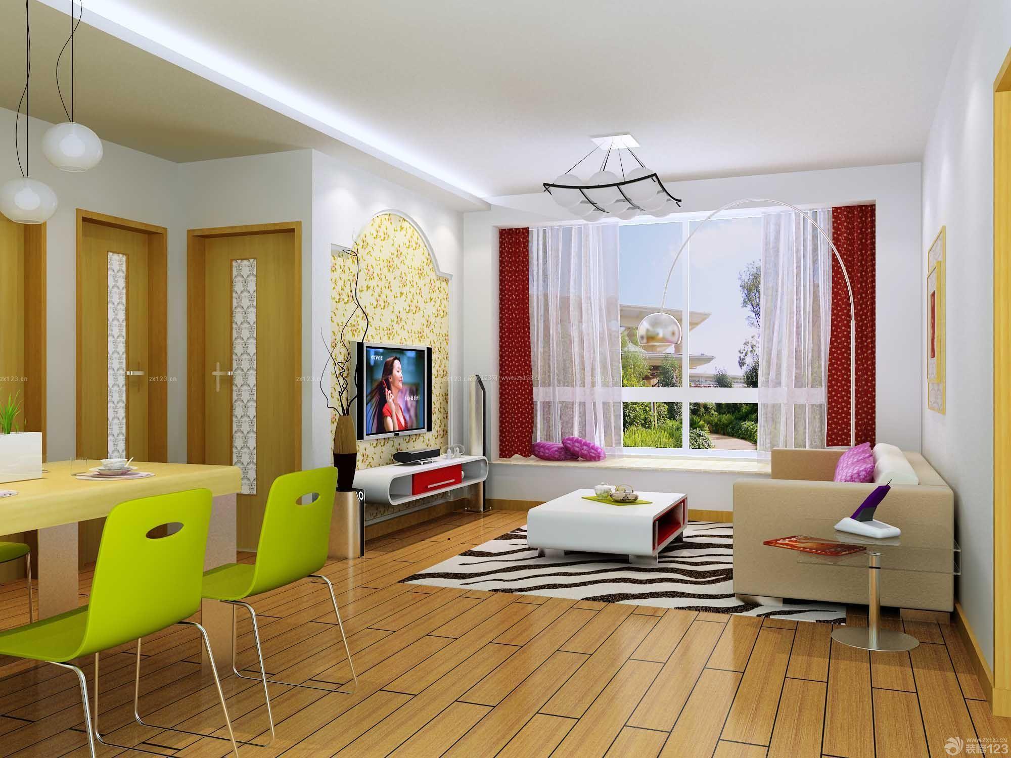 50平方户型客厅卧室一体单身公寓设计图_装修123