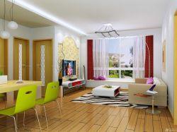 50平方單身公寓淺黃色木地板設計圖