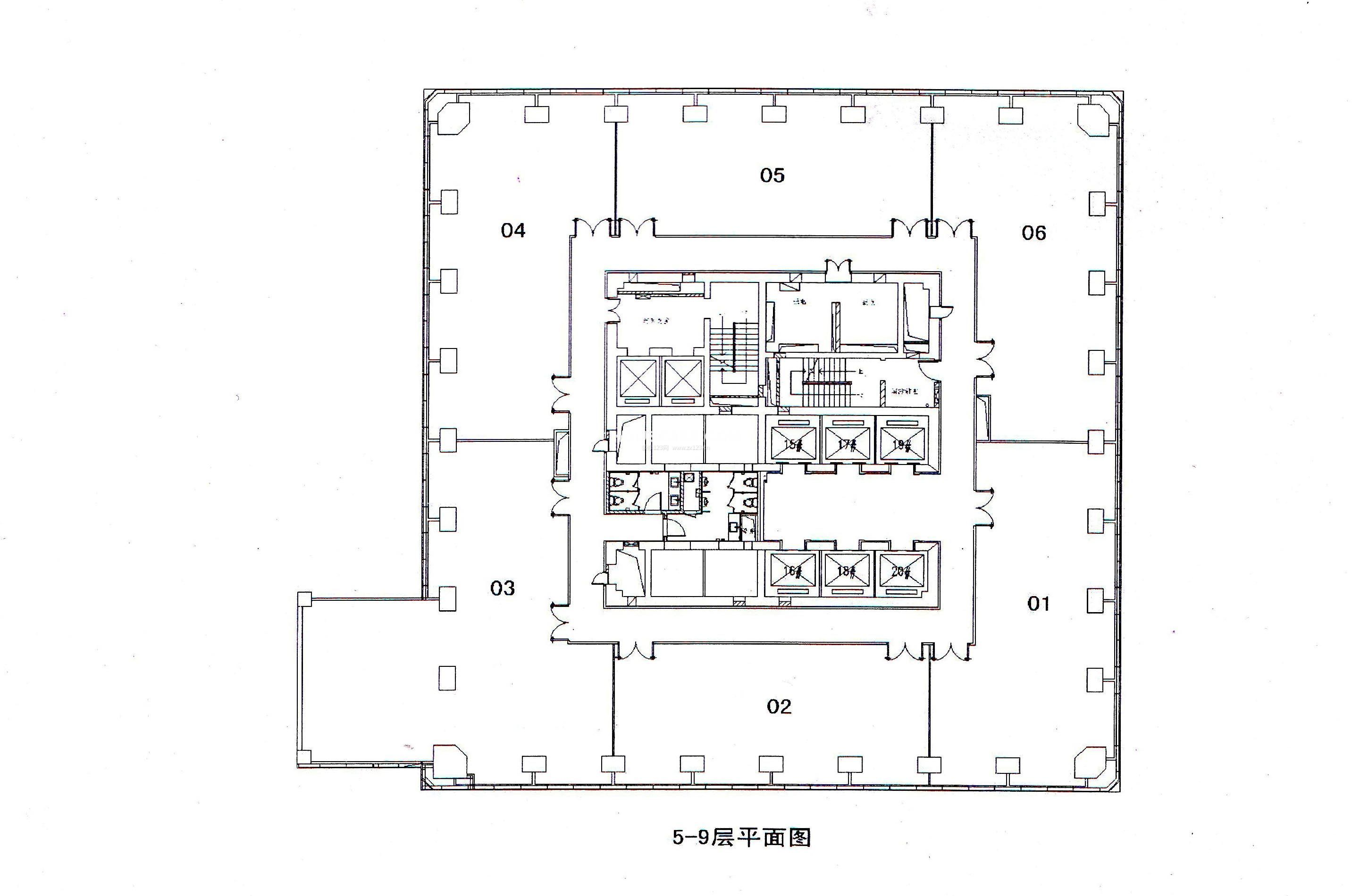 80平米办公室平面设计图展示