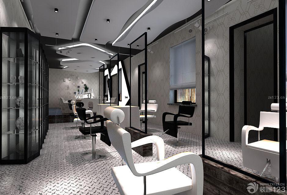 简约黑白风格发廊装修设计图