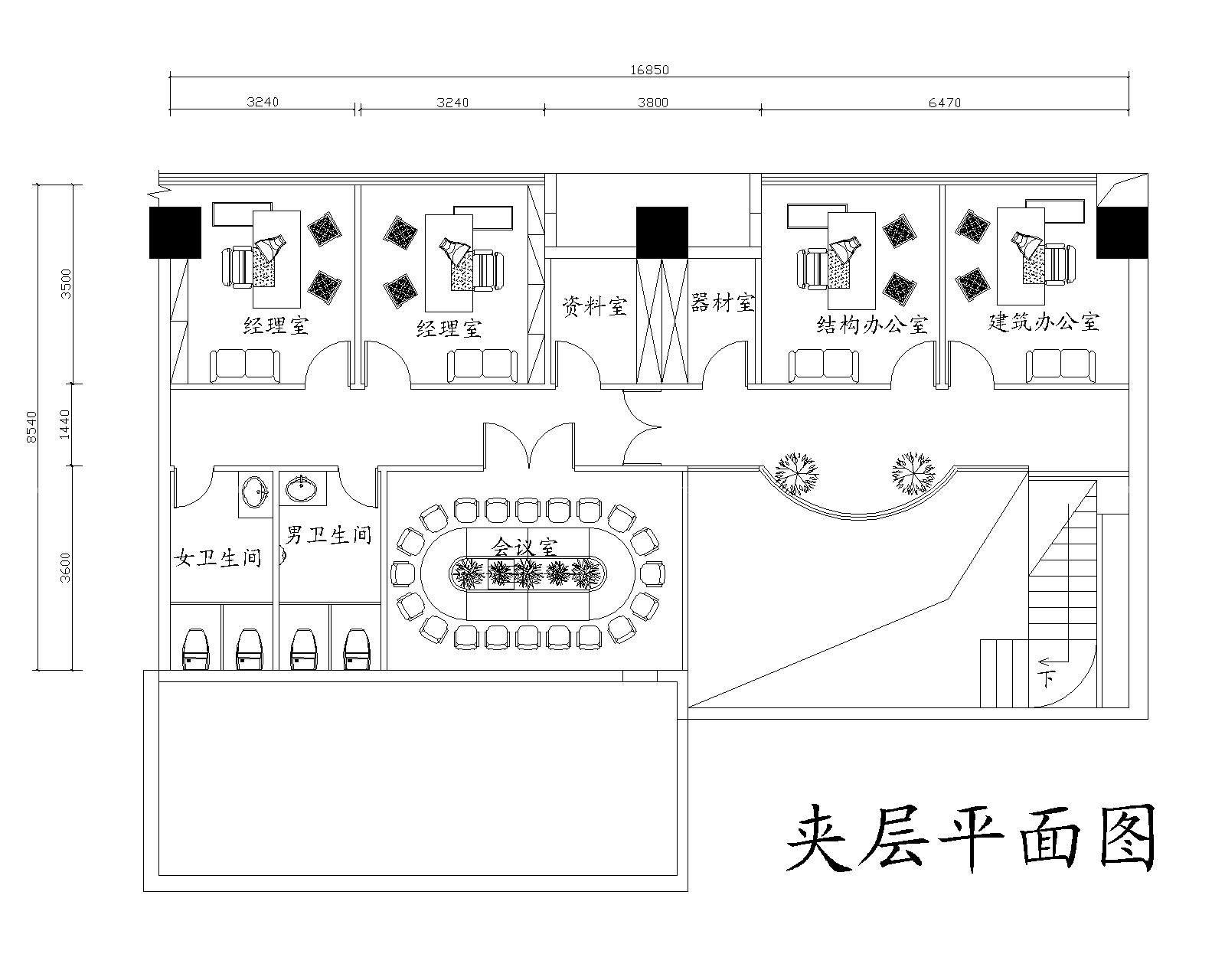 100平米办公楼平面布置图