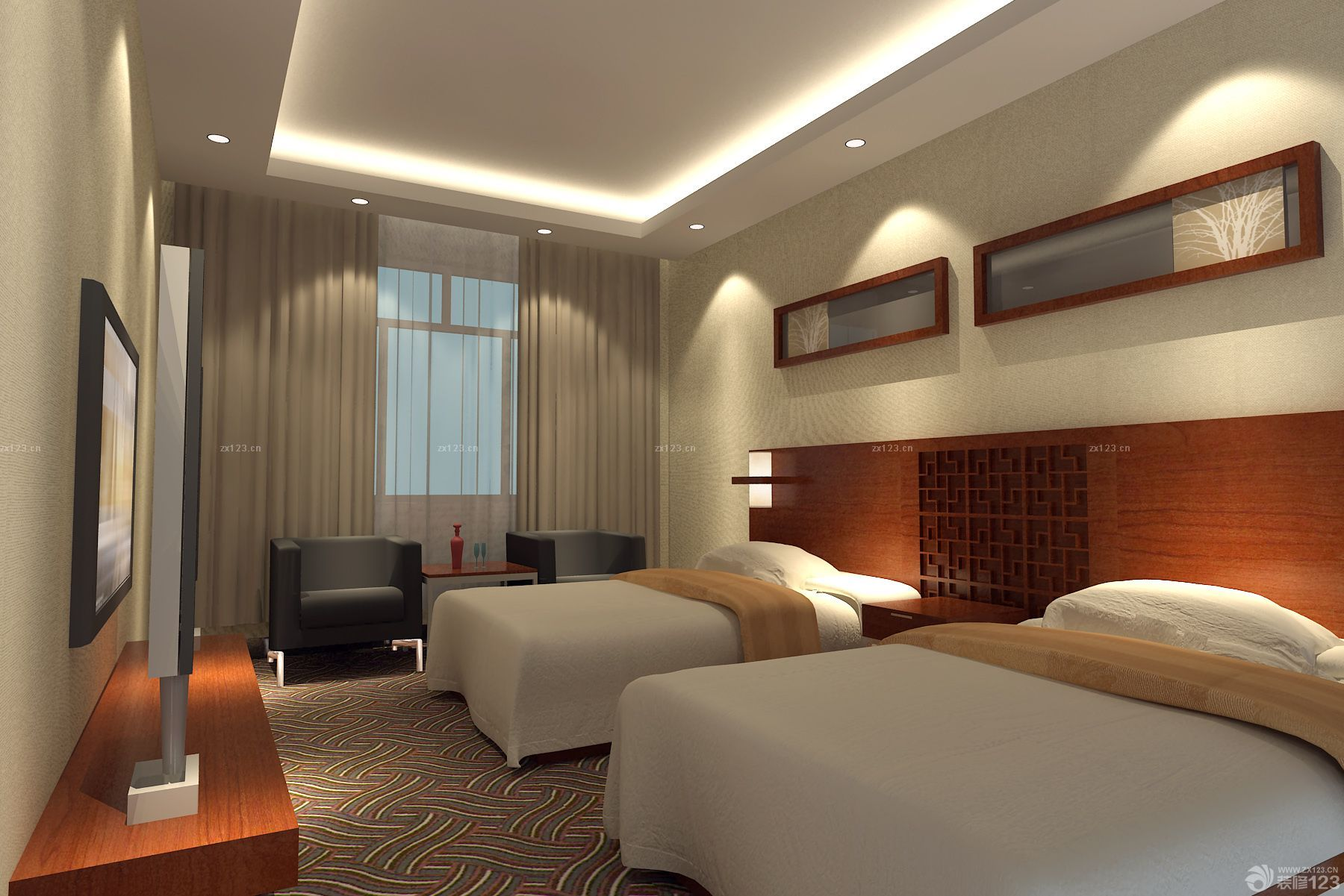 现代旅馆双人房间装修效果图