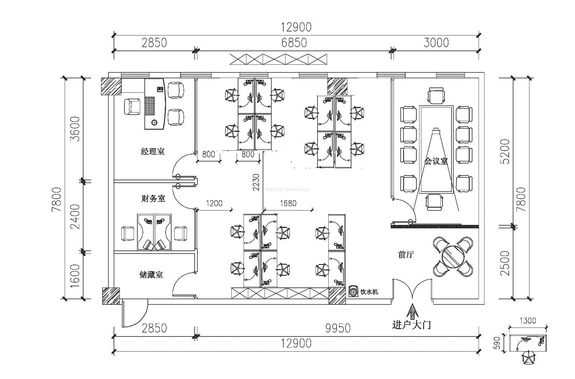 公司一层办公楼平面设计图_装修123效果图