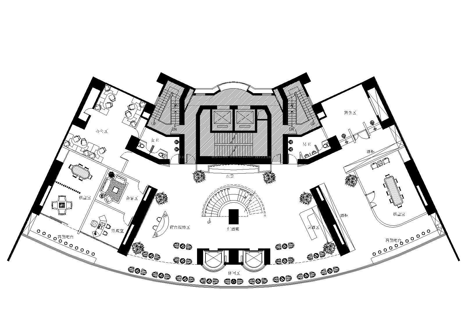 复式办公楼平面设计图_装修123效果图