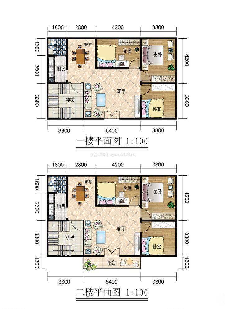 自建两层楼房平面设计图宽9米,长10米,一楼要有客厅,房间两个,还要有