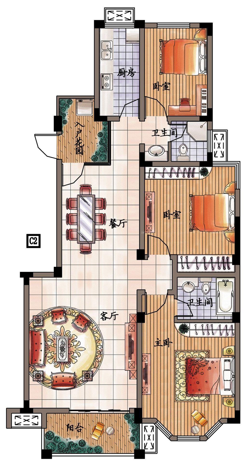 经典210平米新农村别墅户型图