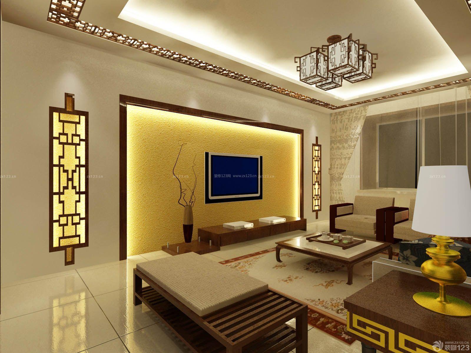 中式古典风格硅藻泥背景墙木质沙发实景图图片