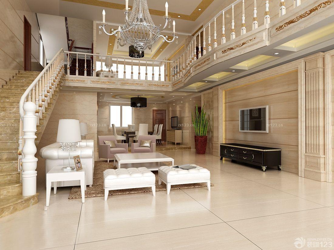 时尚中式风格楼中楼客厅装修效果图大全2014