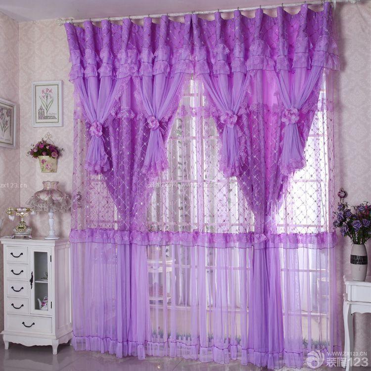 最新时尚温馨落地窗紫色窗帘图片大全