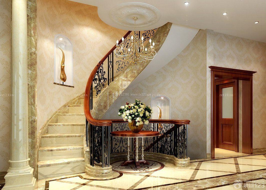 简约中式风格别墅楼梯设计效果图