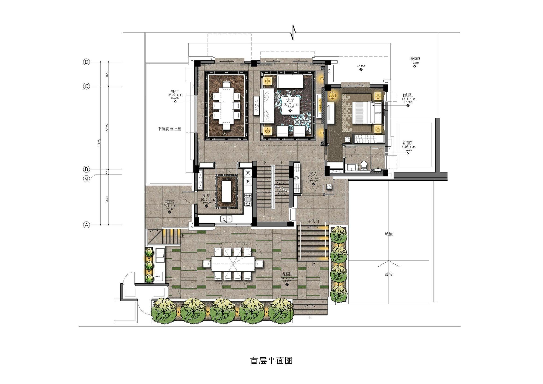 别墅花园平面图手绘-别墅一楼平面布局图|ps别墅花园平面图|别墅装修