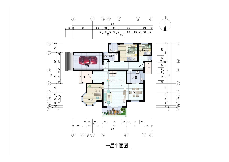 一层别墅cad平面图_装修123效果图