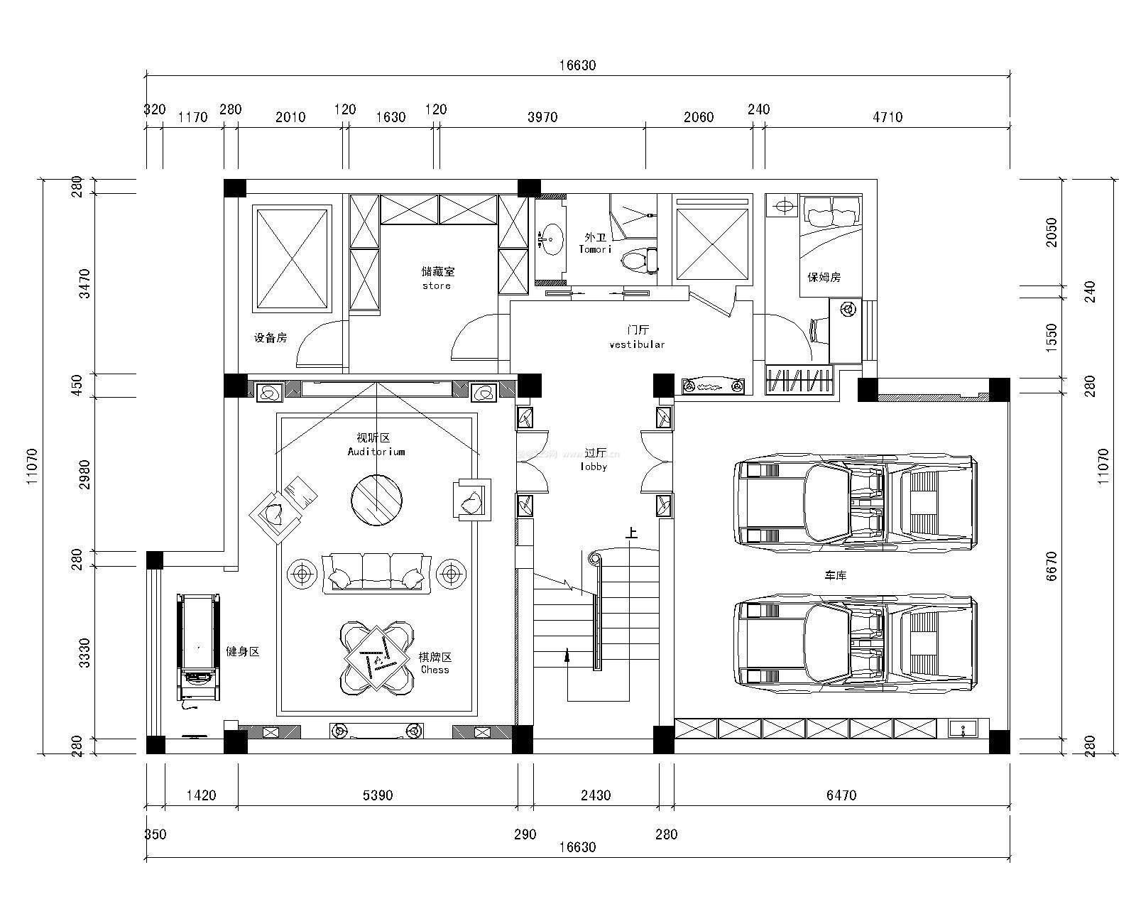 245平米流水别墅平面设计图纸