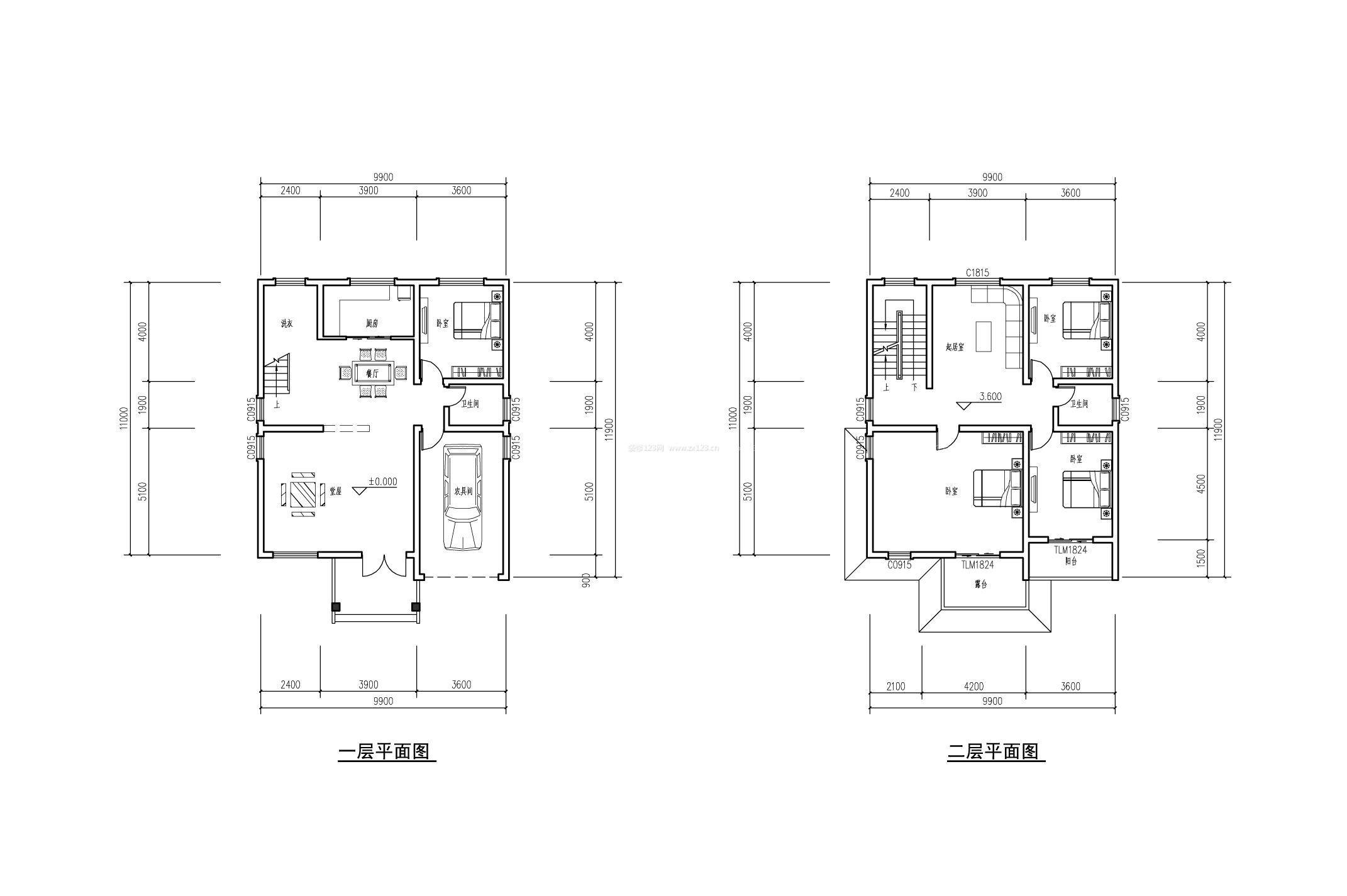 245平米流水别墅平面设计图纸_装修123效果图