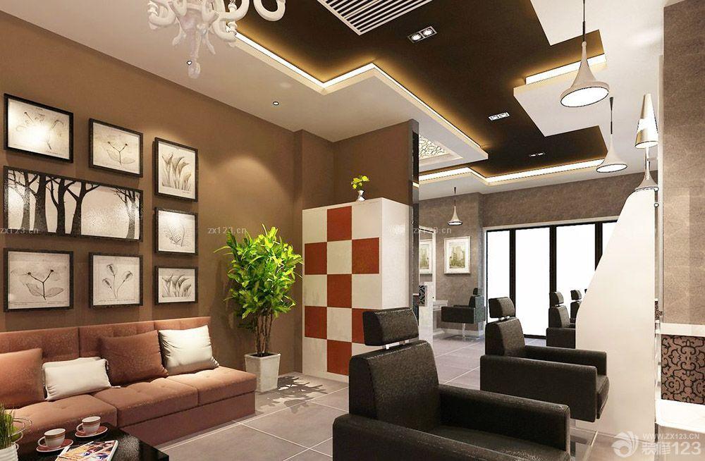 理发店欧式休息区装修风格设计效果图