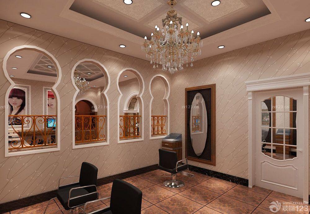 理发店吧台装修效果图8幅 美发店吧台装修图欣 长方形客厅小吧台设计
