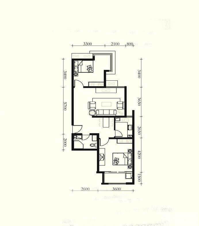 2015美式风格房屋小户型平面图