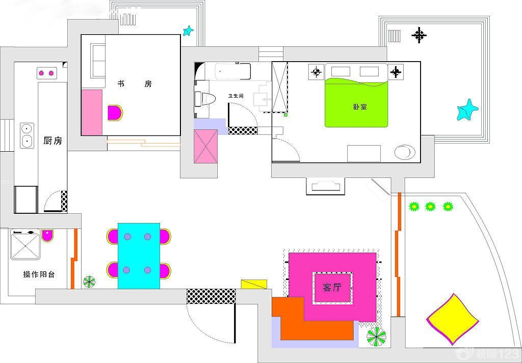 2015新中式风格房屋平面图大全_装修123效果图-商业组团平面图