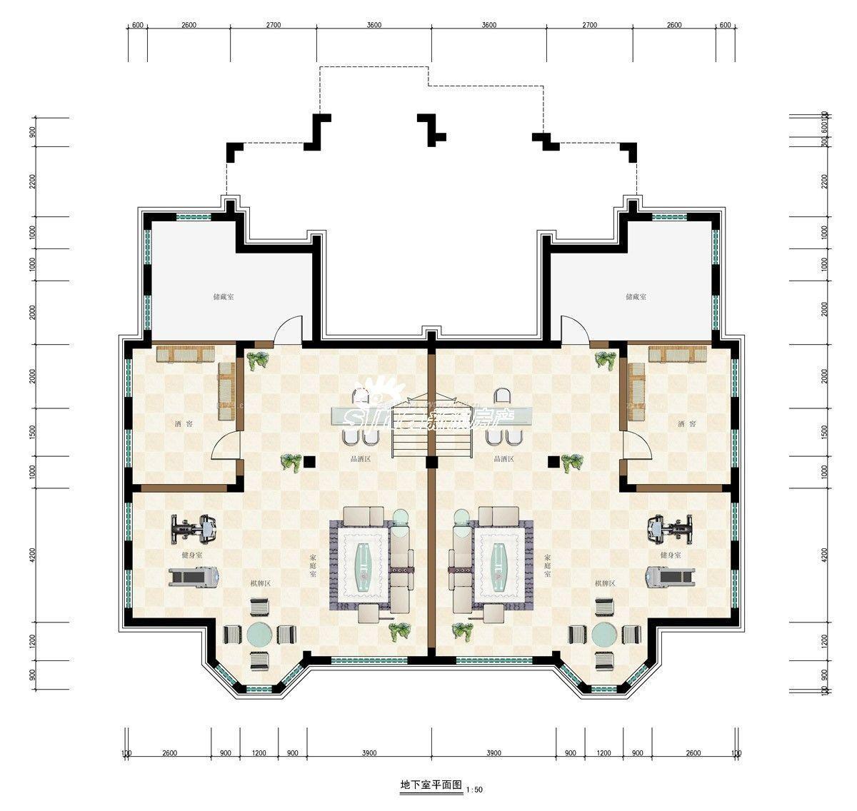 双拼别墅户型图设计