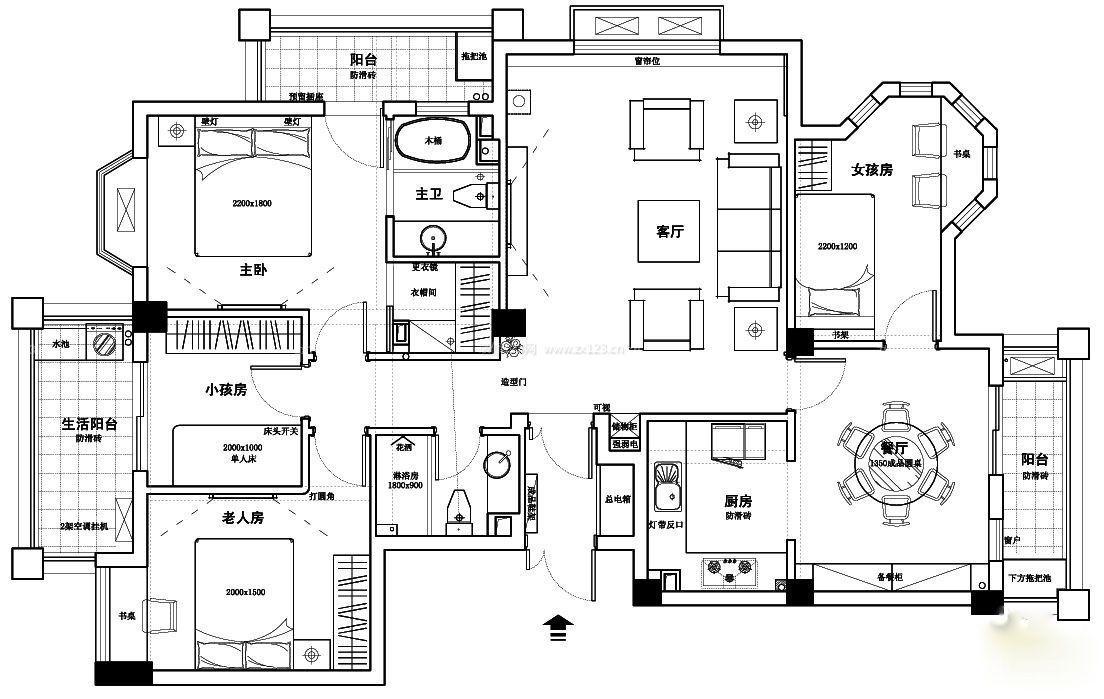 宾馆套房平面设计图_装修123效果图