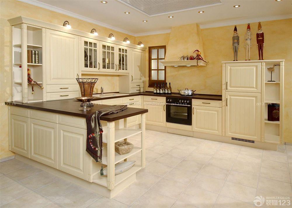 开放式厨房简欧风格整体橱柜装修效果图欣赏