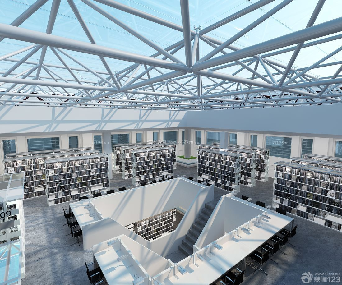大型创意图书馆书架设计图