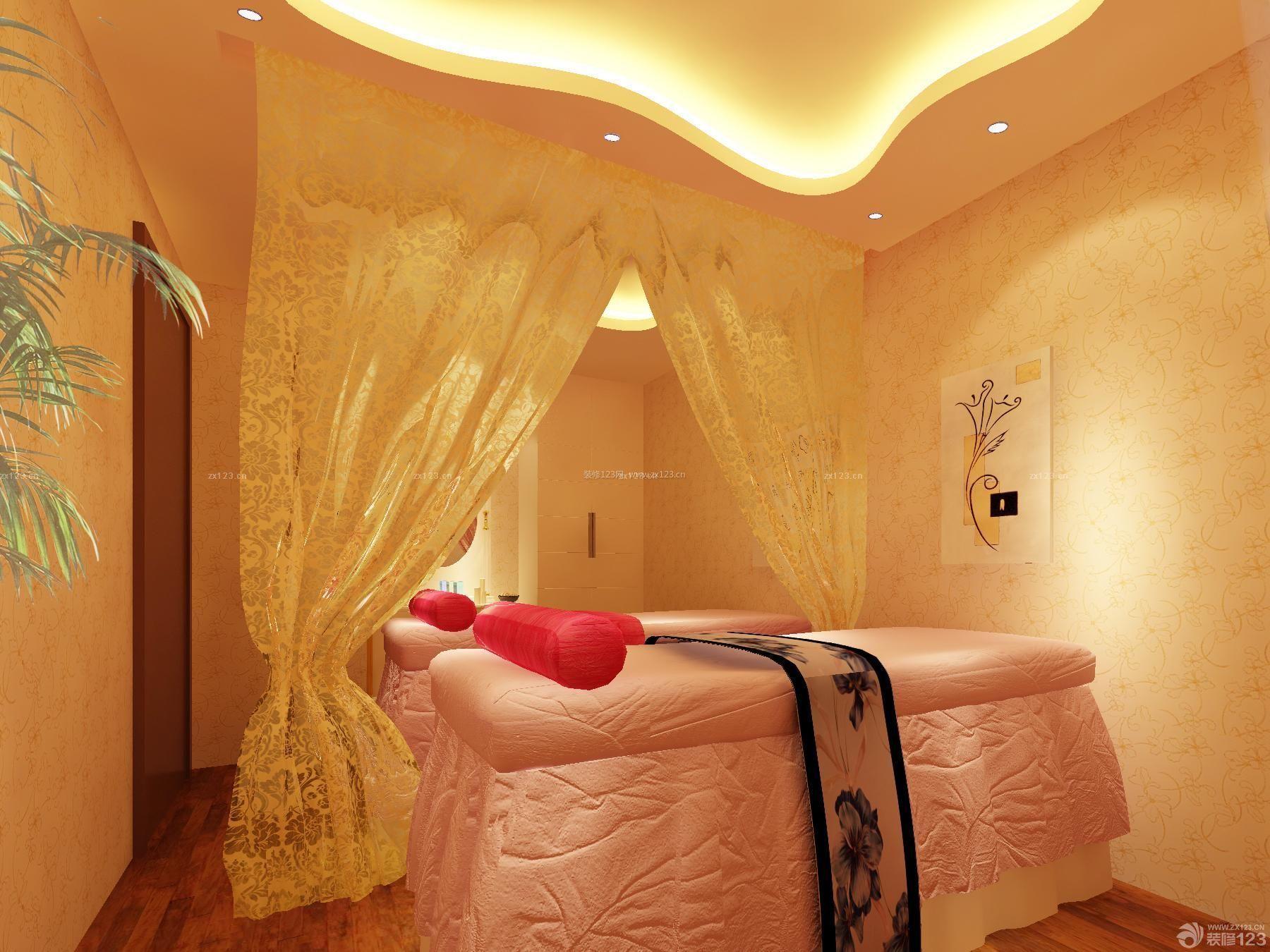 80平米美容院灯带装修设计图片_装修123效果图