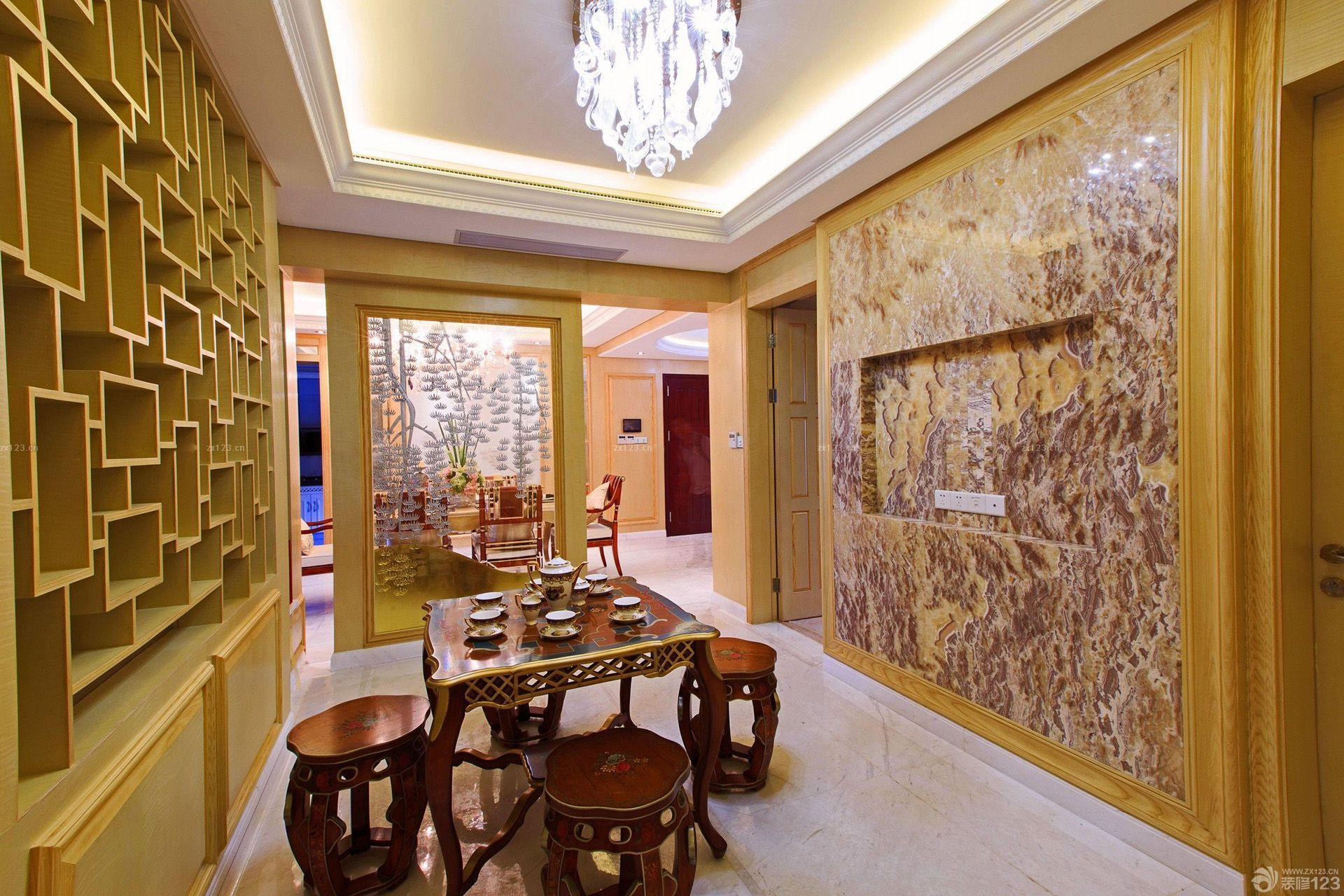 中式混搭风格大理石地板砖背景墙图片
