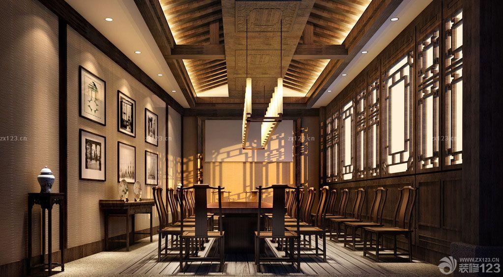 中式风格会议室背景墙装修效果图图片