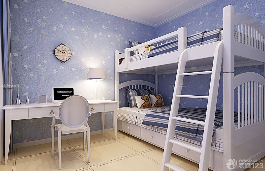 10平米儿童房高低床设计图片
