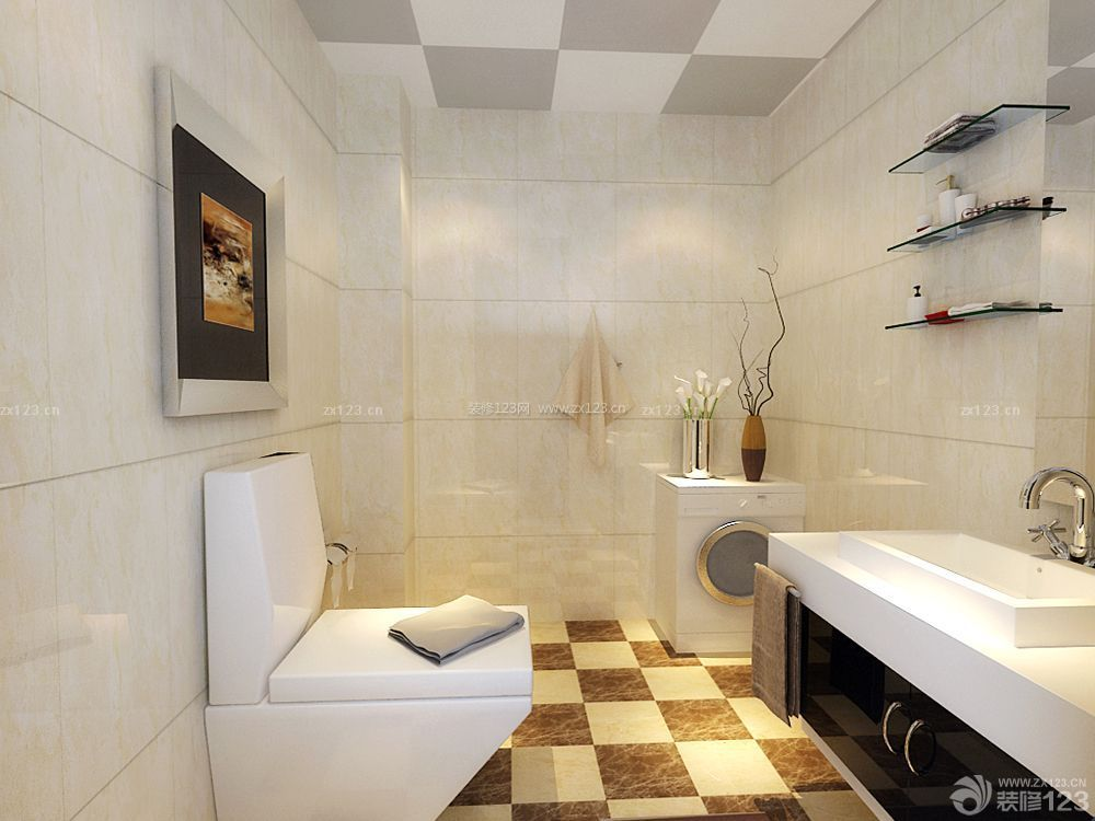 现代简约风格卫生间黑白相间地砖装修效果图