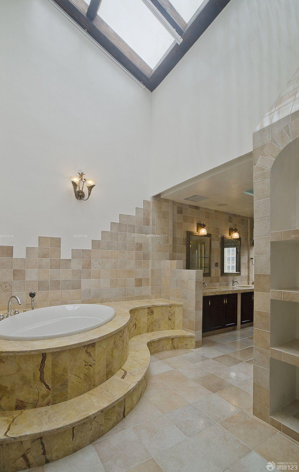 欧式古典浴室大理石地板砖