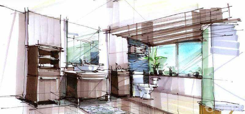 现代简约风格卫生间手绘设计图片