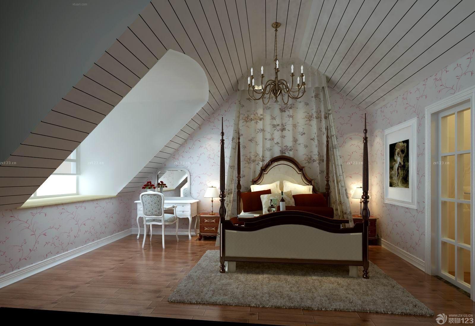 小复式斜顶阁楼卧室效果图_装修123效果图图片